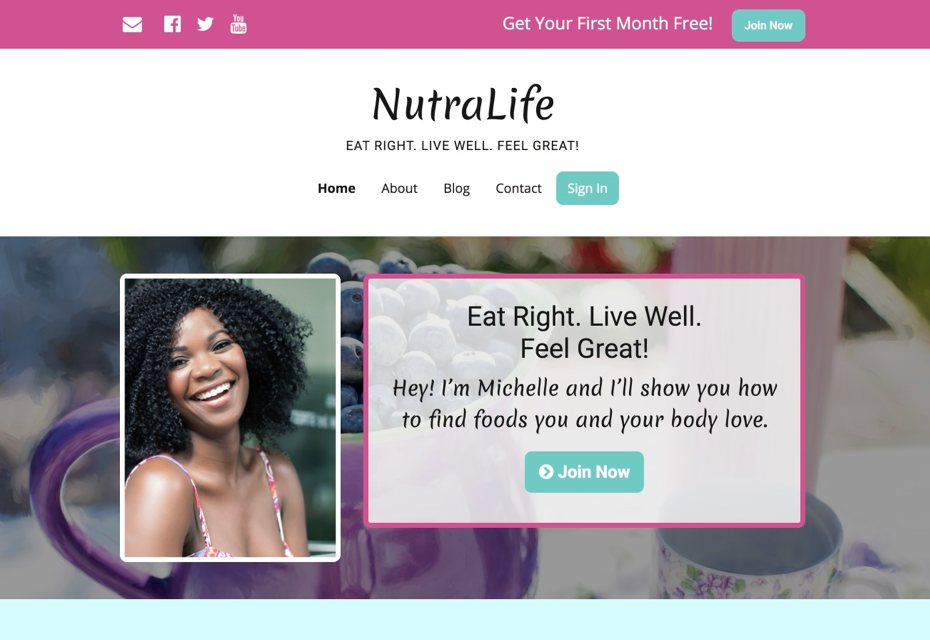 A subscription membership website for nutrition and health
